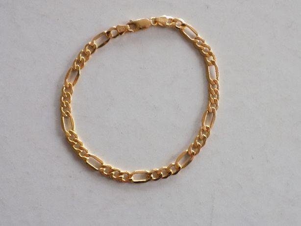 Włoska złota, męska bransoleta, splot Figaro - złoto 333, waga 5,22 g.