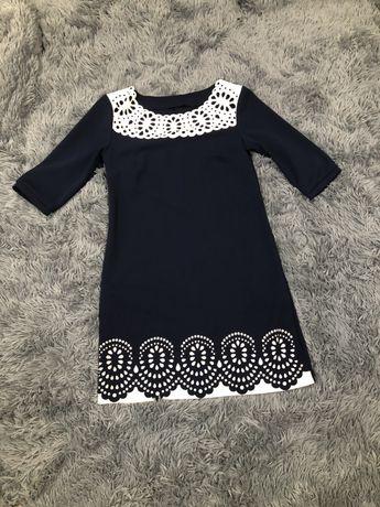 Темно- синє плаття з елементами білого