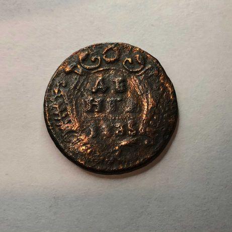Медная монета Российской империи Денга 1735г
