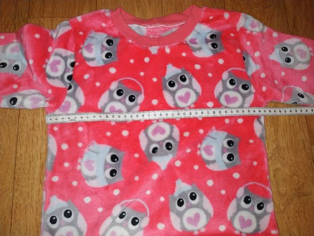 Теплая пижама для девочки, велсофт, совушки 122см