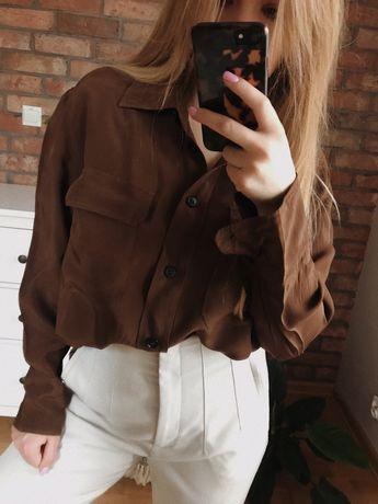 Zara S brazowa koszula z kieszeniami oversize