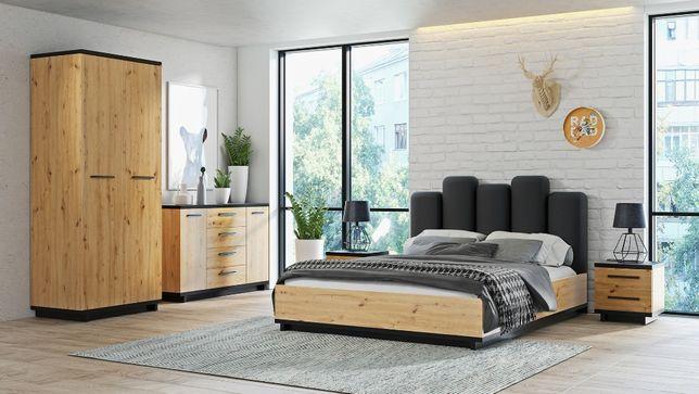 SYPIALNIA IRYS zestaw mebli do sypialni łóżko komoda szafa SOLIDNE