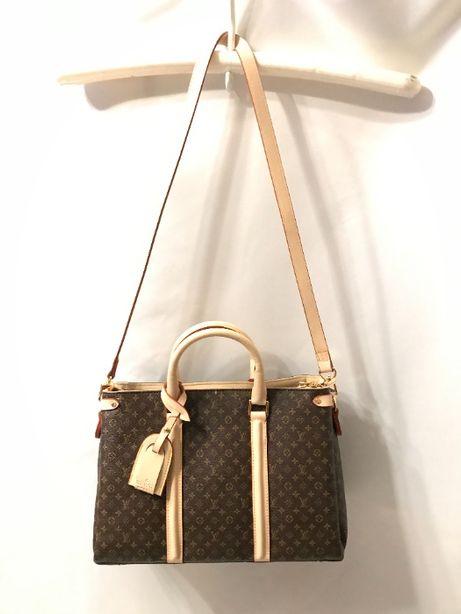 louis vuitton torba usztywniana brązowa połączona z beżem dwa paski