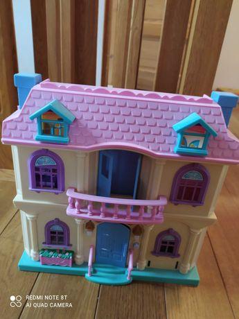 Domek dla lalek z wyposażeniem, różowy