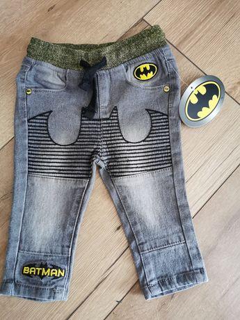 Nowe Spodnie Jeans 74 Batman dziecięce