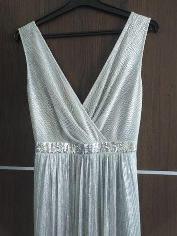 Sukienka srebrna wieczorowa studniówka S/M