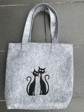 Torba z filcu czarny kot - nowa