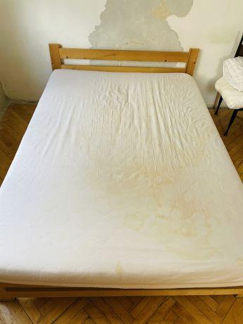 Łóżko sosnowe 140x200 cm + gruby materac wzmacniane