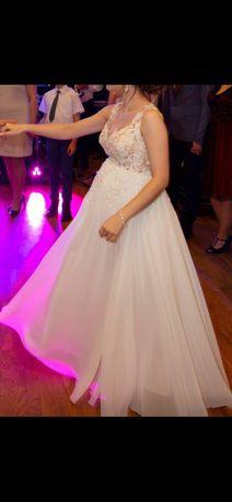 Suknia ślubna księżniczka koronkowa ciążowa na ciążowy brzuszek