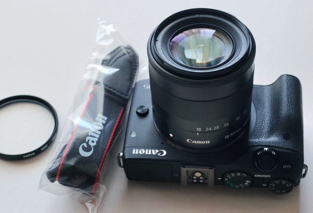 Canon EOS M3 + obiektyw 18-55 IS STM + filtr HOYA HMC UV - JAK NOWE!