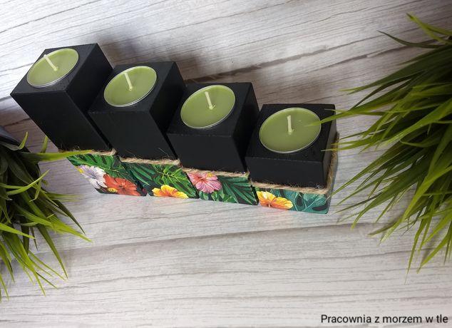 Świeczniki - hawajskie kwiaty - decoupage