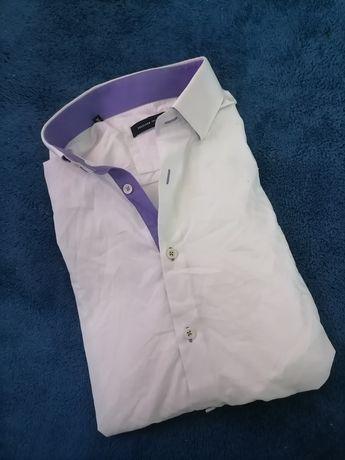 Biała męska koszula z długim rękawem r. XL