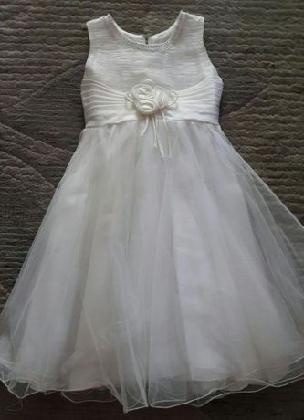 Sukienka ecru - rozm. 128, 8 lat.