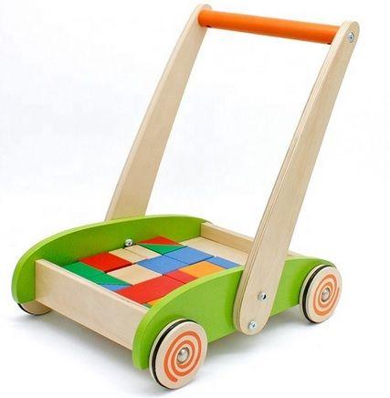 Drewniany chodzik pchacz wózek jeździk + klocki + GRATIS