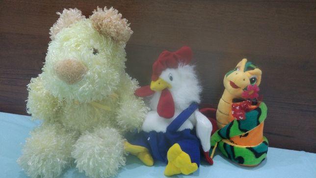 Мягкие детские игрушки на подарок лошадка котик бык петух собачка