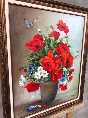 Картина маслом, маки, натюрмотр полевые цветы, яркая красивая картина
