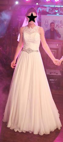 Suknia ślubna Torina r.36, muślinowa, litera A