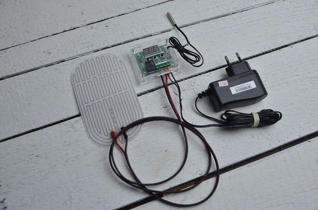 Mata grzewcza z termostatem cyfrowym 10W dużej mocy! 8x14cm