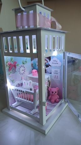 Metryczka dla dziecka lampka latarnia