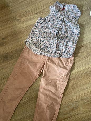 Zestaw komplet Spodnie bluzka  łososiowy pudrowy róż przetarcia 36 s