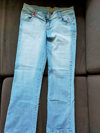 Spodnie biodrówki jasny dżins rozmiar 38