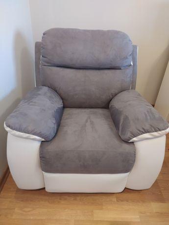 NOWY Fotel rozkładany z relaksem ,wygodny,szary,biały ekoskóra