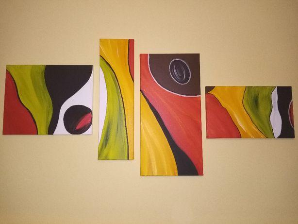 Obraz ręcznie malowany kilku częściowy