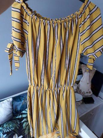 sukienka hiszpanka żółta paski r. uniwersalny