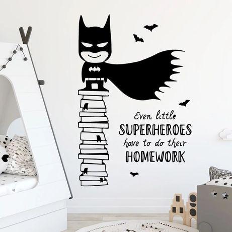 3Д Виниловые интерьерные наклейки на стену Бэтмен супергерой 43 х 65 с