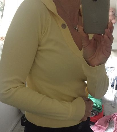 Bluza z kapturem kangurek xs s Only żółta 36 34