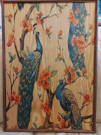 Obraz malowany na drewnie PAWIE