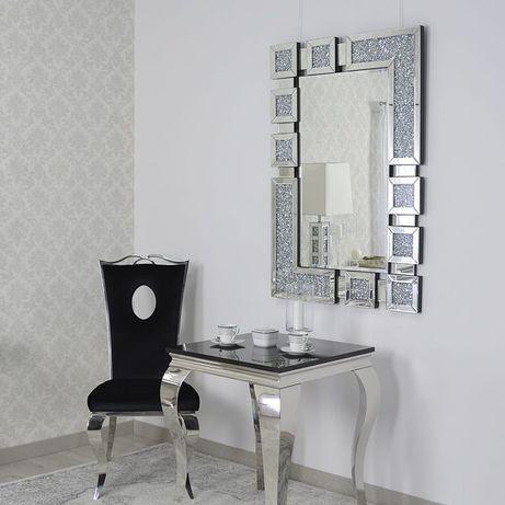Srebrne lustro glamour prostokątne 80x120 cm M-0516