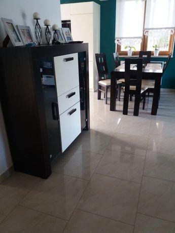 Komplet mebli do salonu komoda / witryna rtv półka  i ława biały brąz