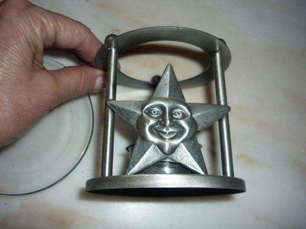 suporte para vela em metal e vidro