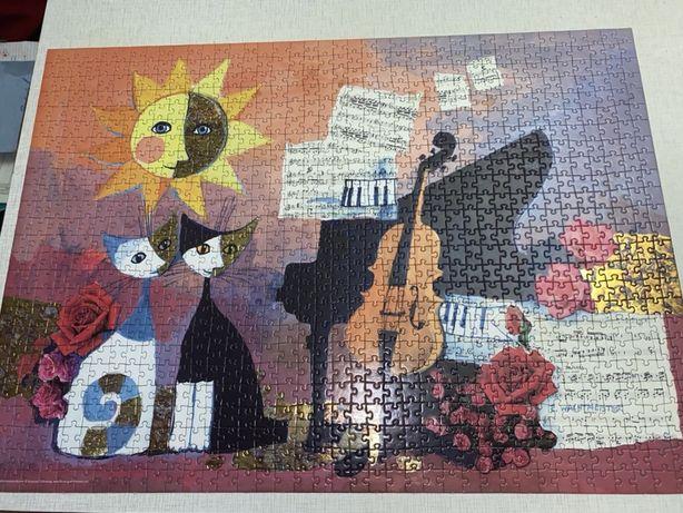Пазл 1000 элементов виолончель и коты Розина Вахмистер