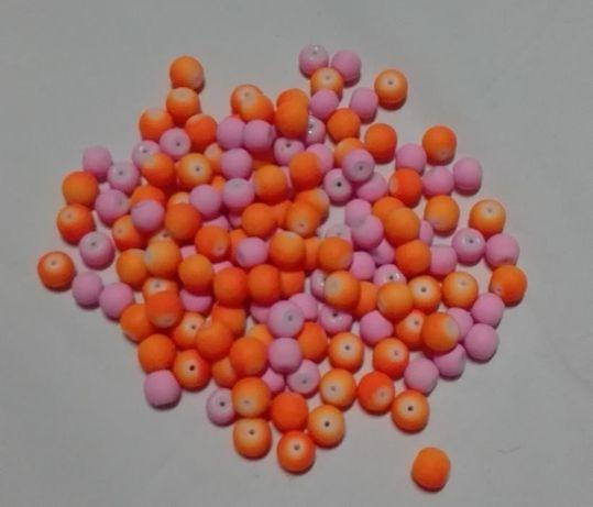 koraliki szkło gumowe 100 sztuk mix kolor.