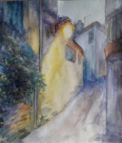 Французский городок, улица. Акварель. Картина.