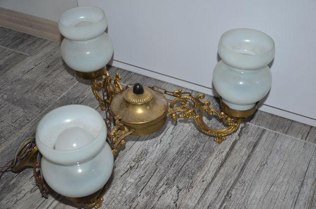 Żyrandol, lampa trójramienna, vintage, PRL.