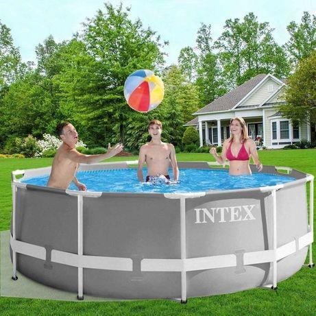 Круглый бассейн «Intex» с лестницей и насосом, объем 6500 л.