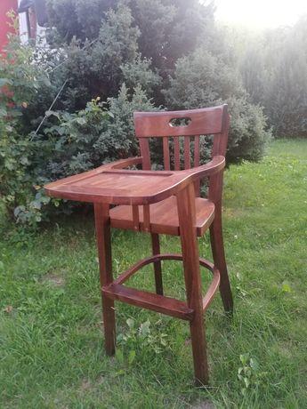 Ekskluzywne krzesełko do karmienia z litego drewna