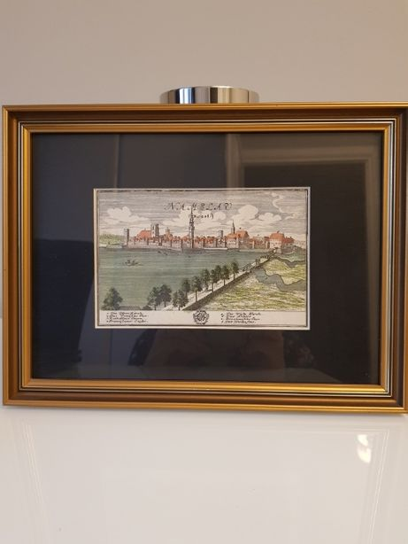 Stara litografia Namysłów miedzioryt oryginał 1725 r. drewniana rama