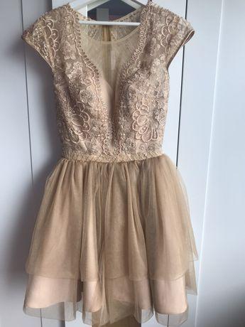sukienka z tiulem złota 36 Małgorzata Wesele/ 18 nastka