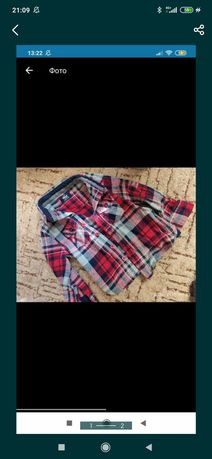 Рубашка в клетку 12-18 месяцев красная черная белая