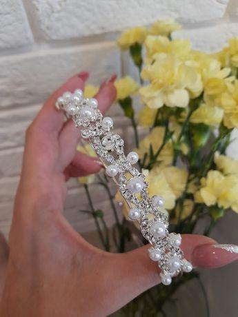 Opaska  ozdoba z kryształkami i perełkami