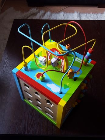 interaktywna drewniana kostka aktywności dzieci sorter przeplatanka