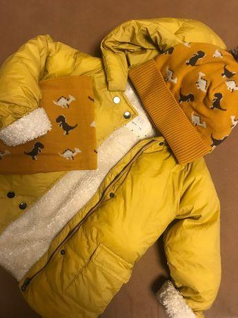 Куртка тёплая Зара 110 Zara жёлтая Красивая Горчица 116
