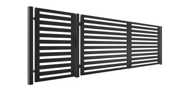 Brama z furtką ocynk +ral skrzydłowa profil 80x20 przesuwna słupek