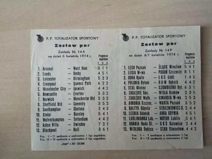 Kolekcjonerski kupon Totalizator Sportowy 1974 Wrocław - image 1