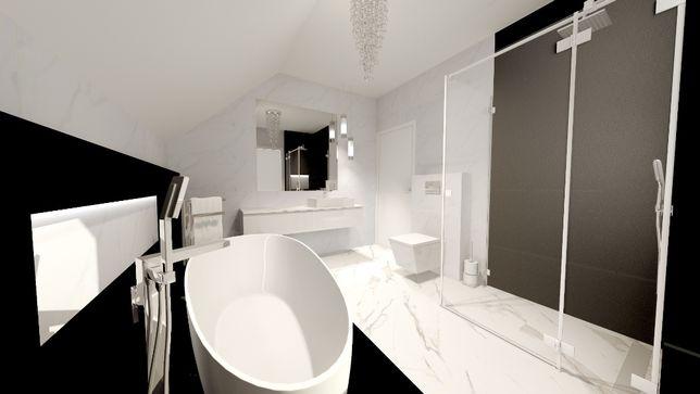 Salon łazienki remonty wanny kabiny prysznicowe projekty 3d meble