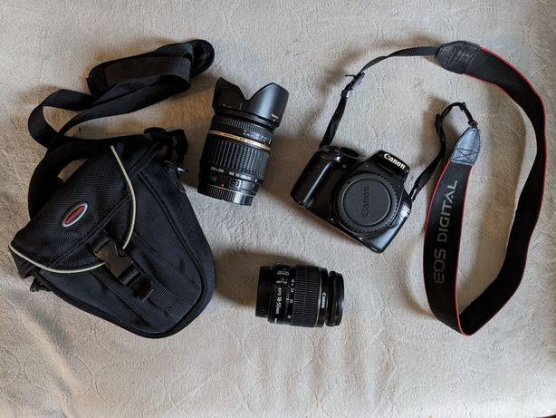 Aparat Canon 1100D plus dwa obiektywy